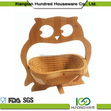 Factory Supplier Most Popular Creative owl bamboo folding fruit basket