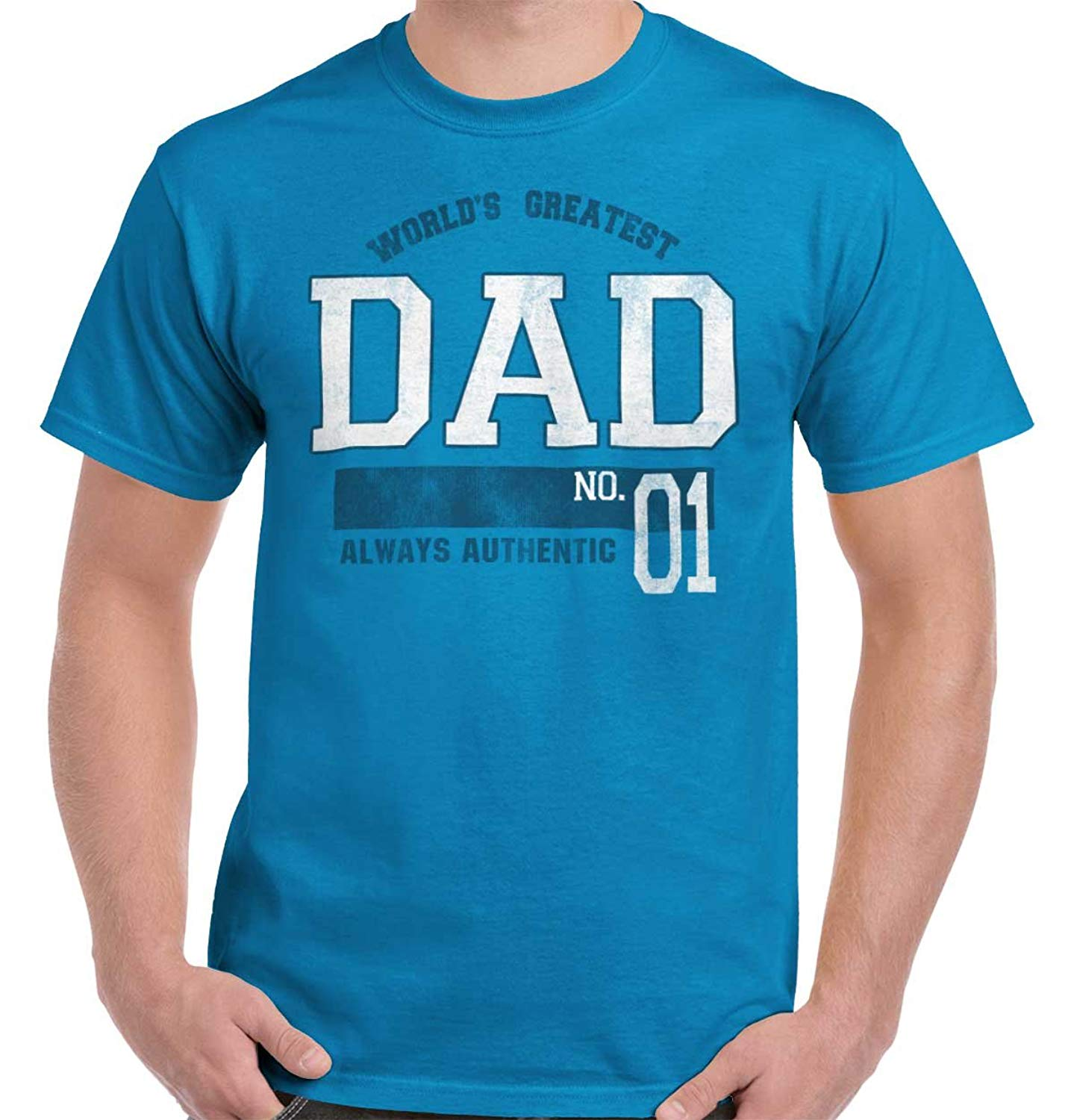 18f416bfa Get Quotations · Brisco Brands World Greatest Dad #1 Father Day Gifts Funny  Cool Graphic T Shirt