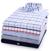 A16520 Wholesale Men 100 % Cotton Oxford Slim Fit White Shirt Non-Iron Plaid Casual Large Size Long Sleeved Shirt