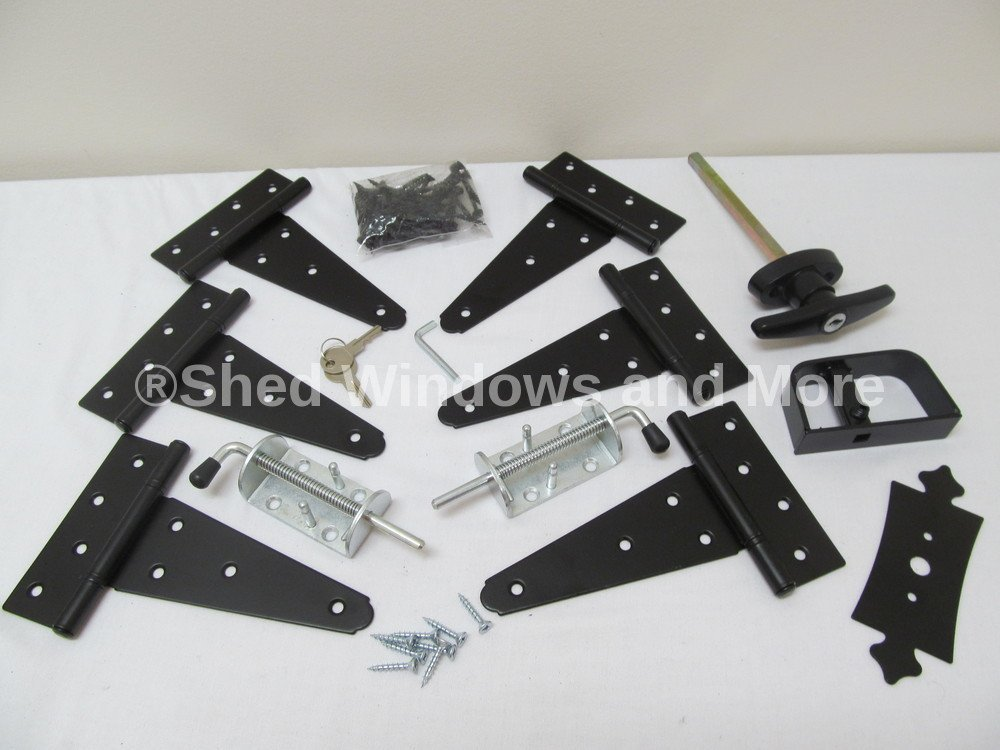 T Hinges 5 Shed Door Hardware Kit #1 New Heavy Duty Barrel Bolts T-Handle