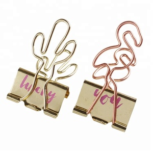 Different Kinds Rose Gold Cactus Shape Paper Clips flamingo binder clip customized design