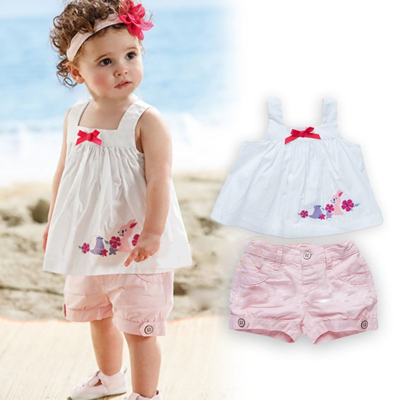 Baby Girl Top Bowknot Vest Tops Dress Shorts Pants Toddler Outfit Set Suits 0 3Y Clothing
