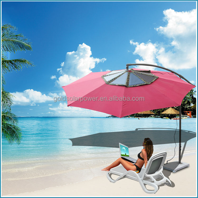world unique hottest beach umbrella 60Watt solar charger for laptop and mobile phone