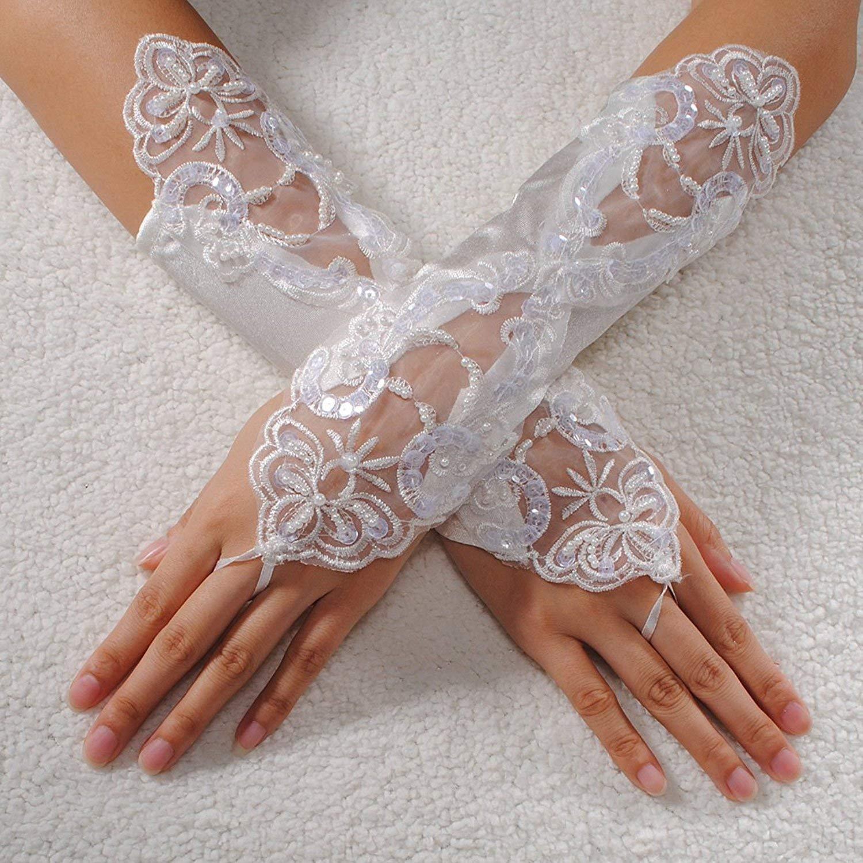 2ff1033c7 GQMART Sexy Bride Wedding Party Fingerless Pearl Lace Satin Bridal Gloves  Fancy,Beige