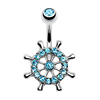 Ship Yacht Wheel Surgical Steel Aqua Clear Paved Cz Gems Cz Gems Navel Ring