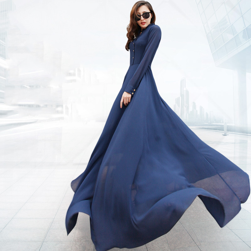 Get Quotations · Ladies Robe vestido de festa 2015 Brand New Women Plus  Size Long Sleeve Chiffon Maxi Dress 082afe614c65