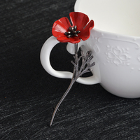 Fashion Decorative Garment Dress Accessories Vintage Red Poppy Floral Flower Brooch Enamel Pins