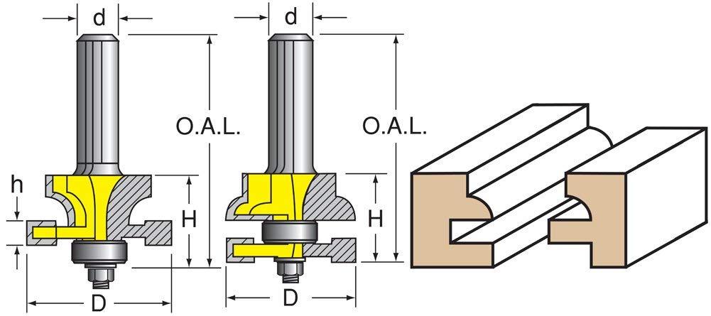 "Woodtek 110144, 5-pack, Router Bits, Door Construction, Stile & Rail Cabinet, Stile & Rail Set, Quarter Round Detail, 1/2"" Shank"