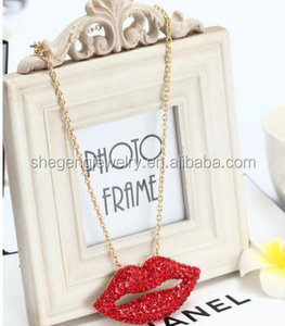 Bling Rhinestone BIG RED LIPS Statement Necklace