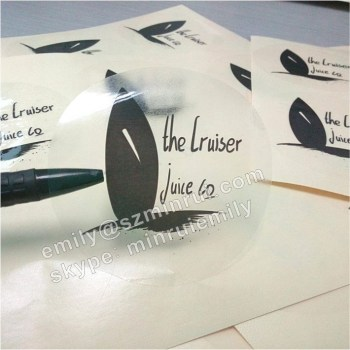 Good quality transparent sticker with customized logo printed transparent clear labels with gloassy lamination for