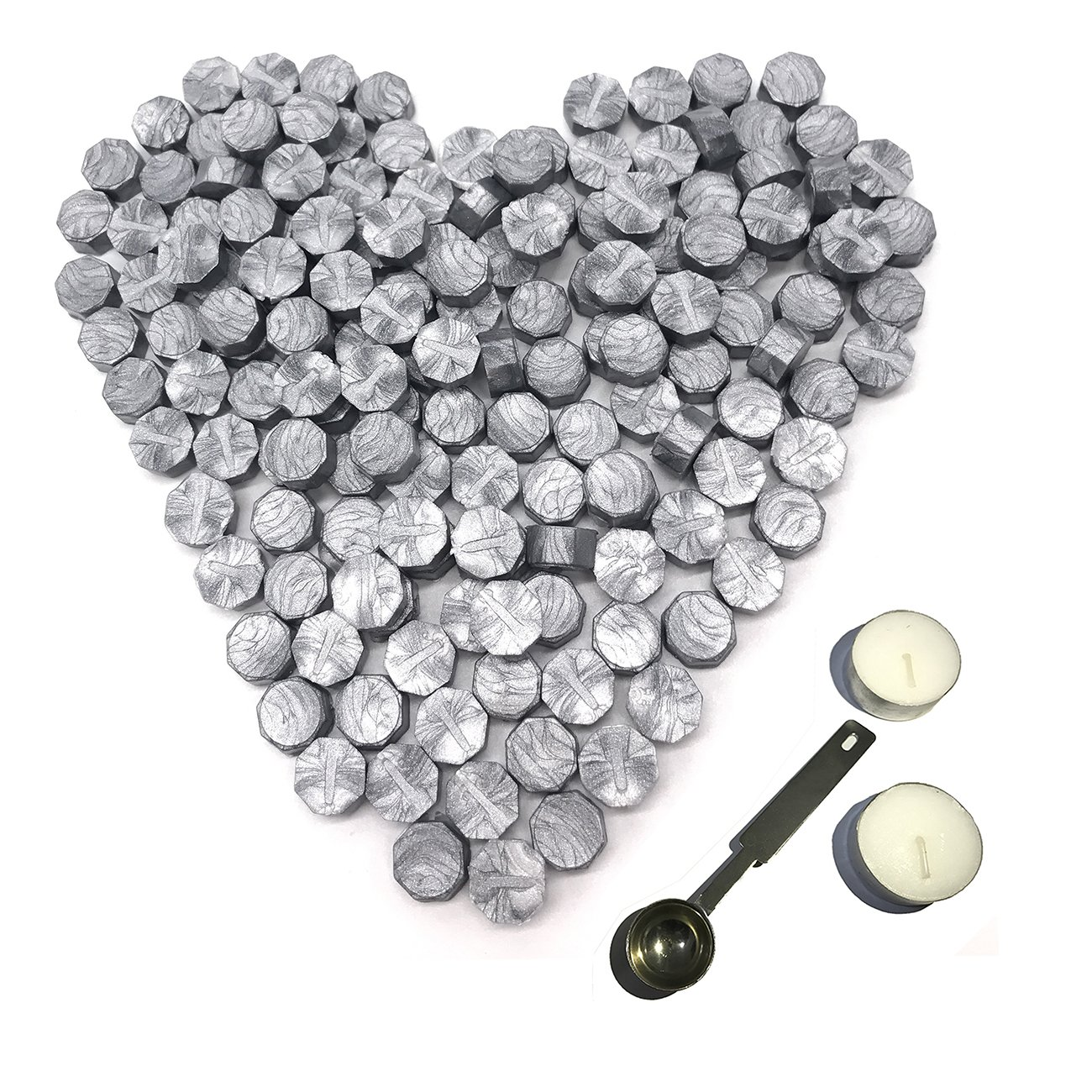 Silver Sealing Wax Beads, Botokon 150 Pieces Octagon Wax Seal Beads Kit with a Wax Melting Spoon and 2 Pieces Candles for Wax Seal Stamp (Silver)