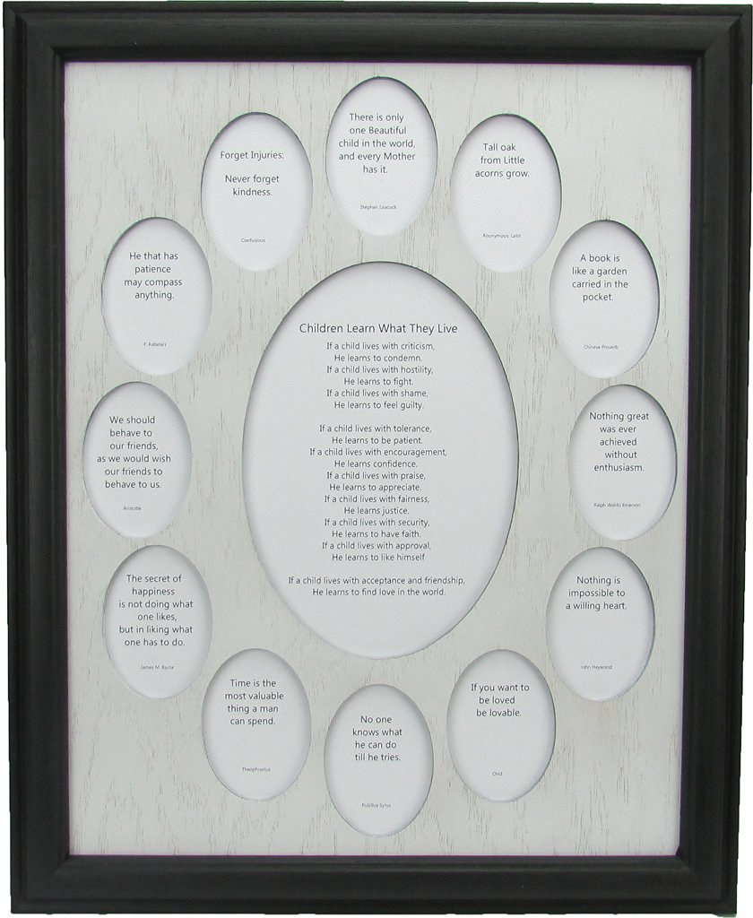 Northland Frames and Gifts Inc - School Years Picture Frame -School Photo Frame with Oval Picture Openings, Black Frame and White Wooden Matte
