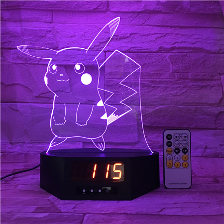 Time Clock base 3D led light Hot selling acrylic led night light 3d lamp with cartoon shaped image