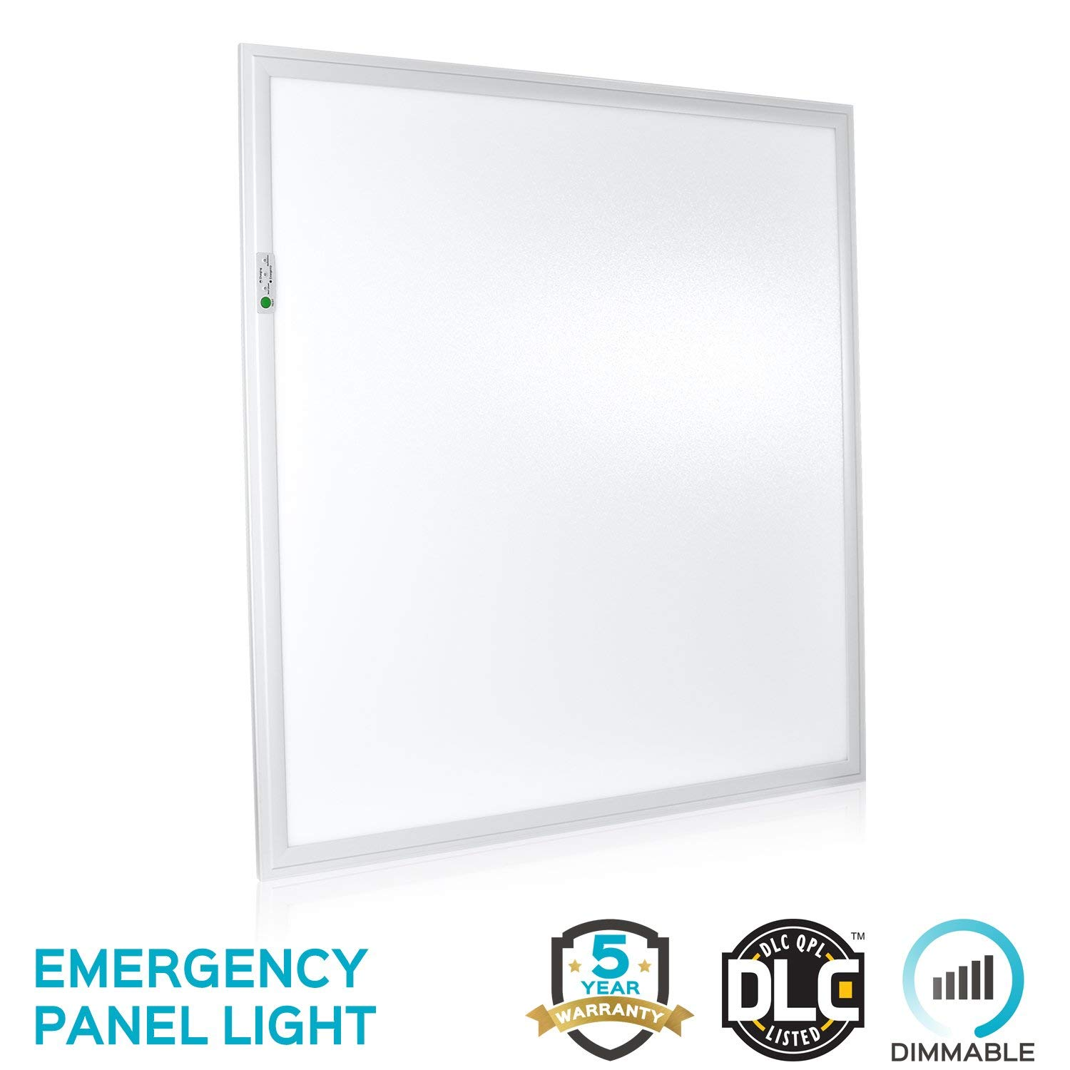 Luxrite 2x2 LED Panel Light with Emergency Battery Backup, 45W 4000K Cool White, 0-10V Dimmable, 4800 Lumens, Flat Panel LED Drop Ceiling Light, 100-277V, DLC and UL Listed, Ultra Thin Edge-Lit