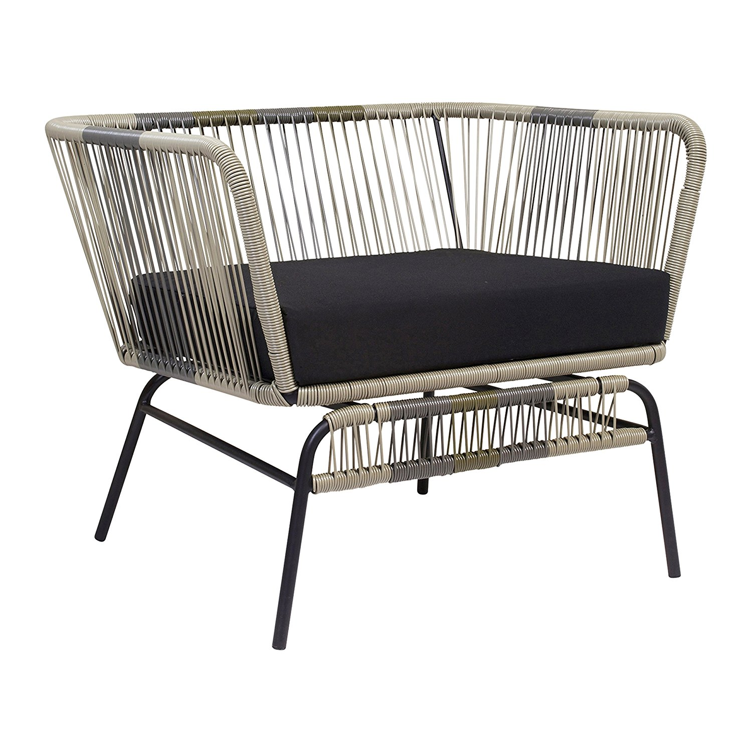 Acapulco Indoor / Outdoor Lounge Chair, Neutral Green, Black Padded Seat