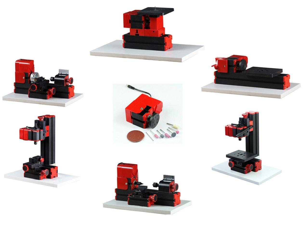 ZhouYu 6 in 1 24W Basic Mini Multi-function Combination Machine Tools, Mini Lathe ,Milling ,Drilling ,Wood Turning ,Jag Saw and Sanding Machine,Mini Combined Machine Tool, DIY Tool