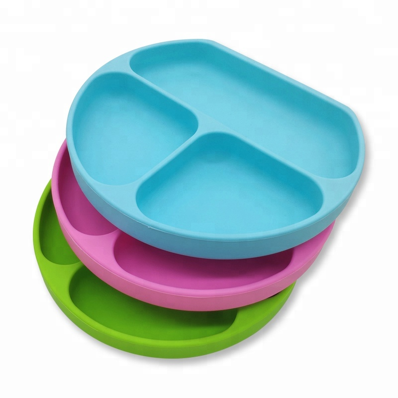 Benhaida Kids dinner silicone rubber placemat baby food feeding plate with suction, All sorts of colors