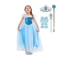 Girl Elsa Carnival Costume Sequined Ankle Length Dress Kids Summer Fancy Halloween Birthday Party Princess