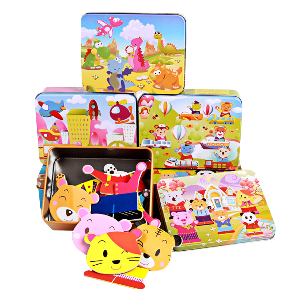 Nº1 Set Baby Toys ⑦ Wooden Wooden Magnetic 3D Puzzle Bear
