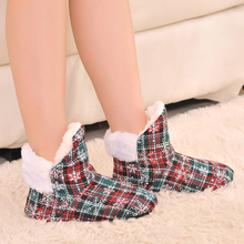 Winter Indoor Plush Shoes for Lady, 7Color Grid Print Warm Floor Slippers High Quality In Good Price It's Soft Sole  Plush Inner