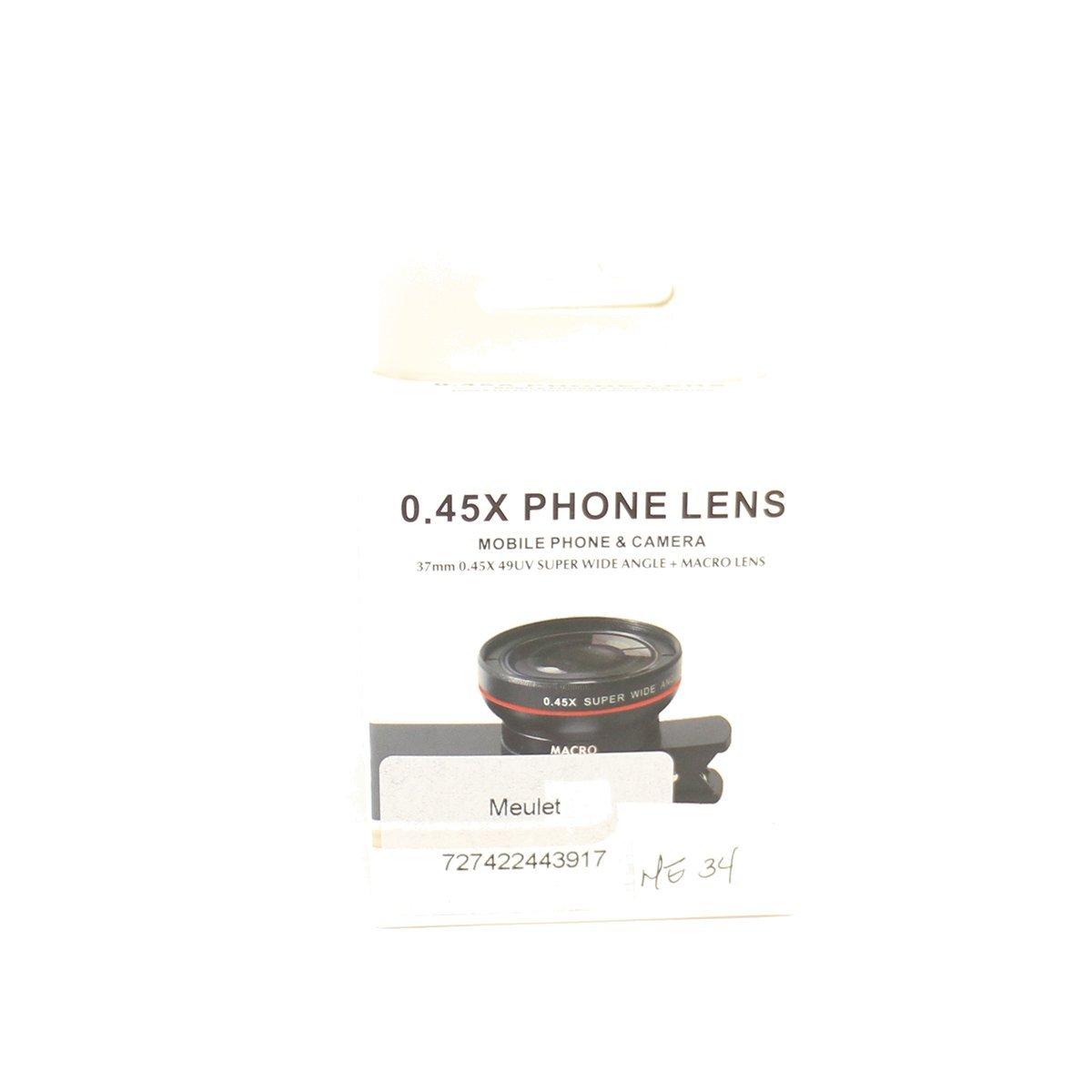Mobile Phone & Camera 37mm HD Phone lens 0.45 X 49UV Super Wide Angle + 12.5X Macro Lens Black Color Meulet