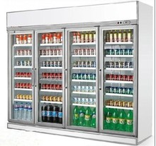 Single-temperature Style and Display Cooler Type upright glass door refrigerator