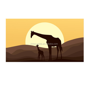 Landscape Canvas Wall Art Mother And Baby African Giraffe Safari ...