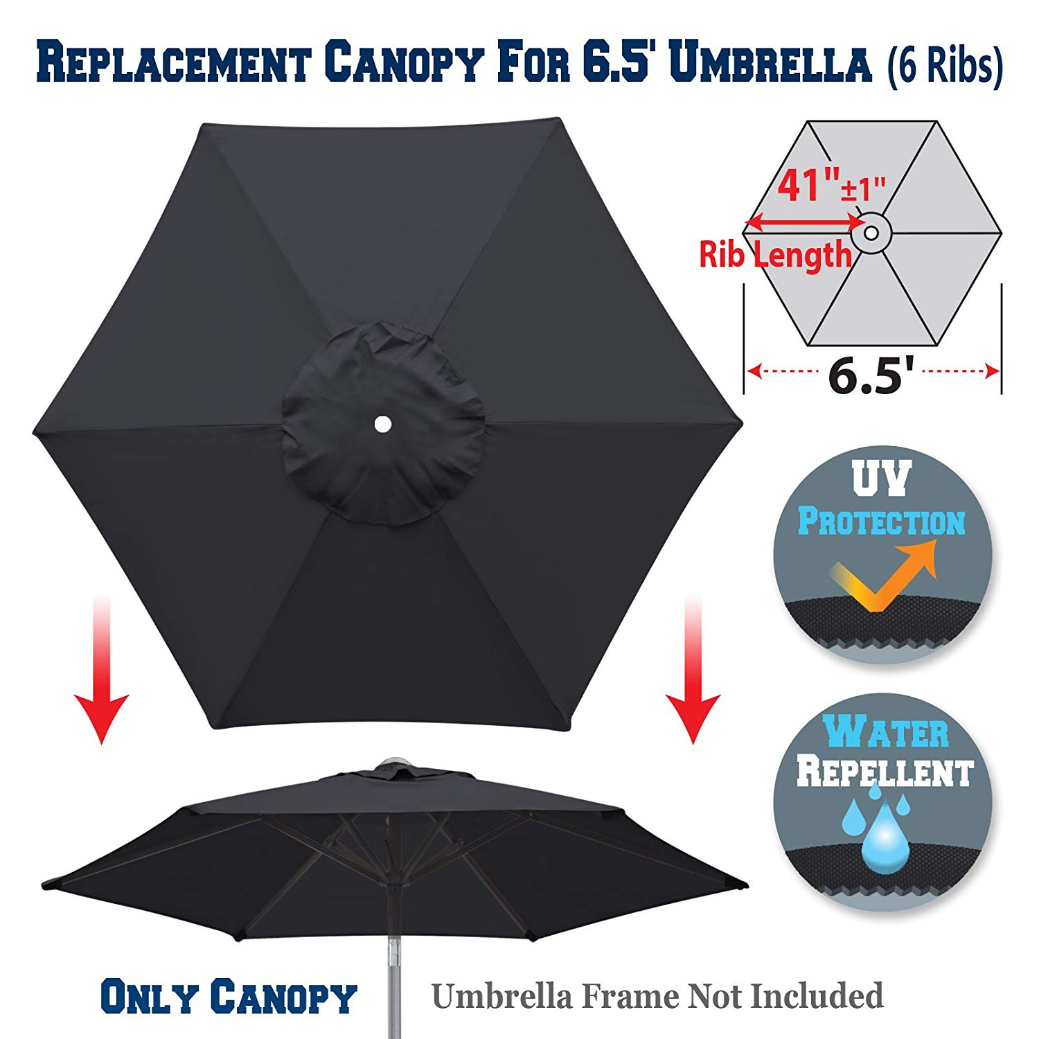 BenefitUSA Replacement Umbrella Canopy Cover for 6.5ft 6 Ribs Patio Market Umbrella (CANOPY ONLY) (Black)