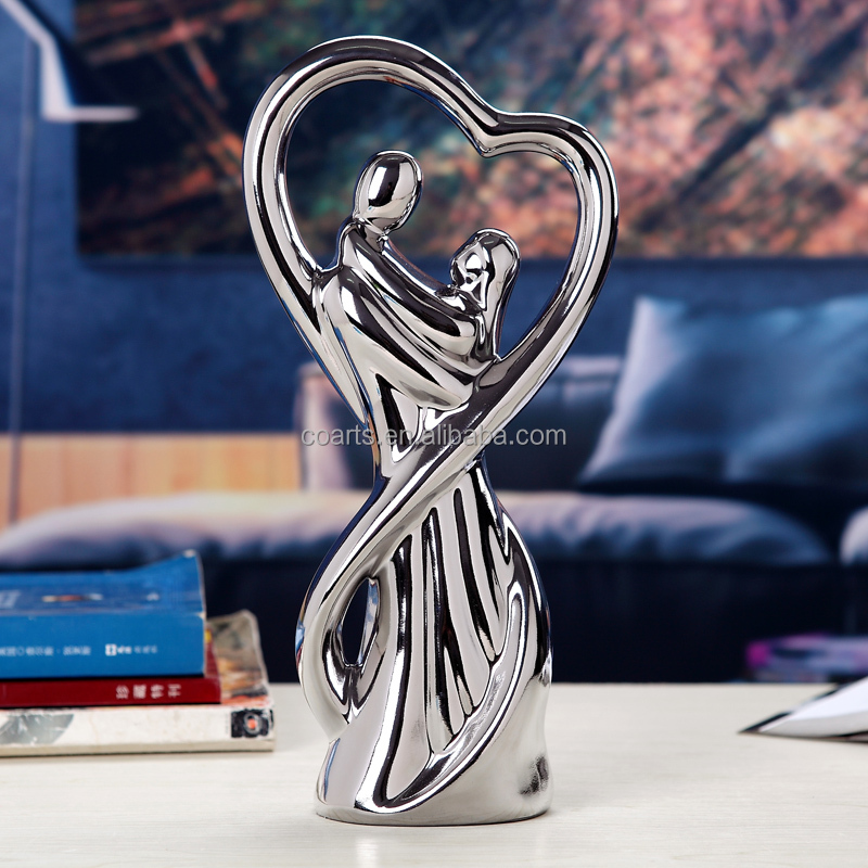 Tabletop Wedding couples figurine Silver plated porcelain ceramic home <strong>decoration</strong>