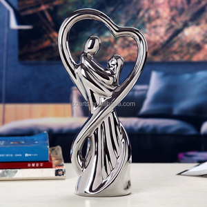 Tabletop Wedding couples figurine Silver plated porcelain ceramic home decoration