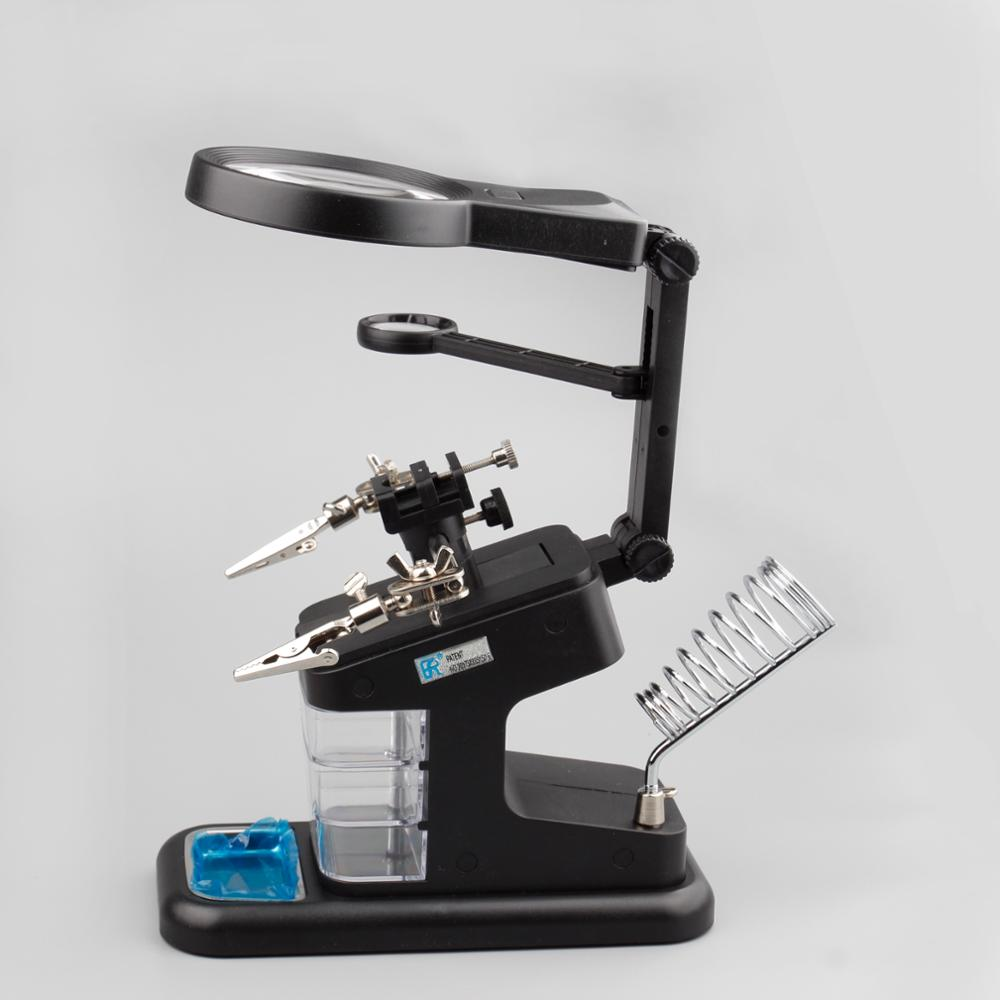 TH-7026 Helping hands Professional Table LED magnifying laboratory lamp led magnifier desktop led magnifying lamp