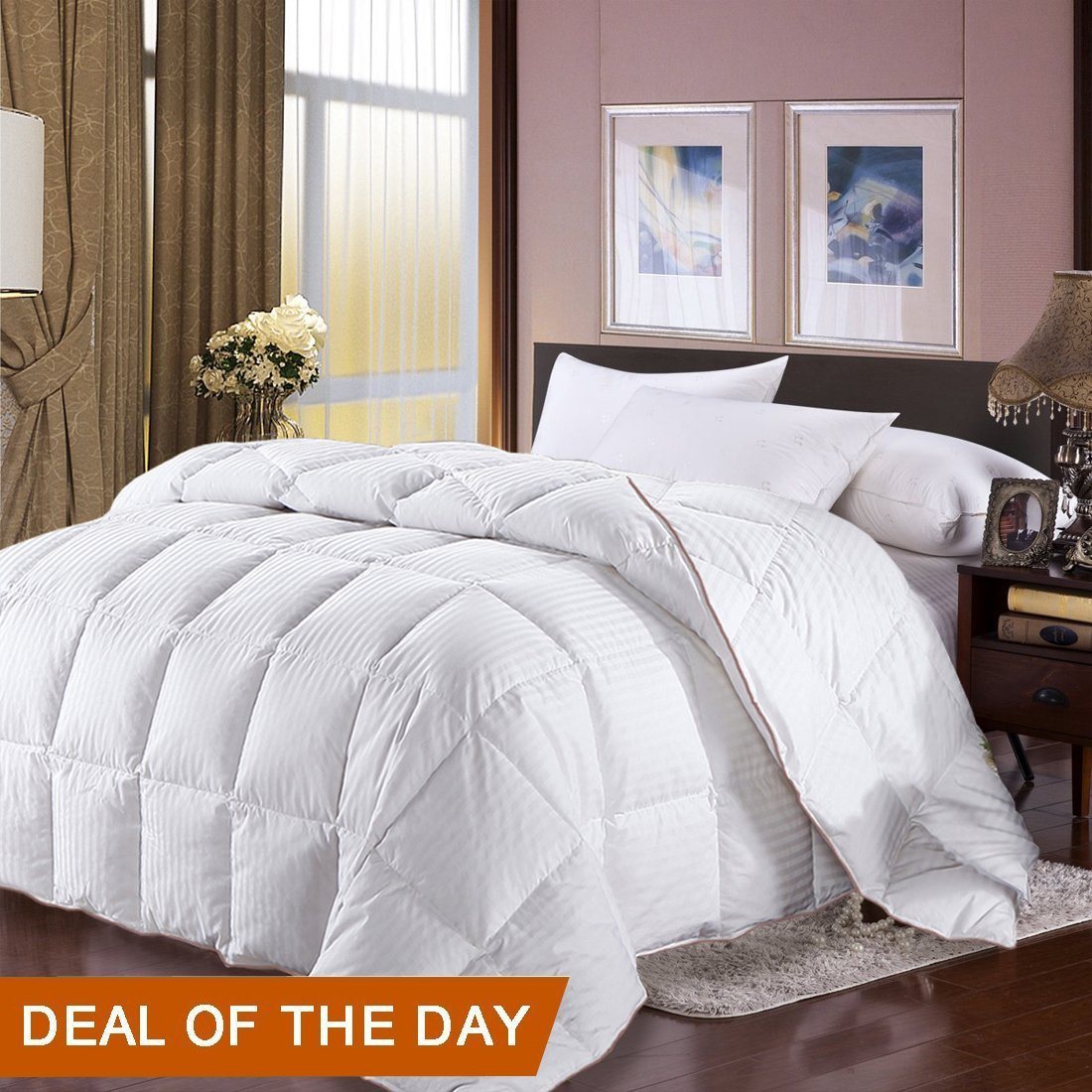 Get Quotations Full Queen Size Duvet Insert Goose Down Comforter 100 Egyptian Cotton Cover White