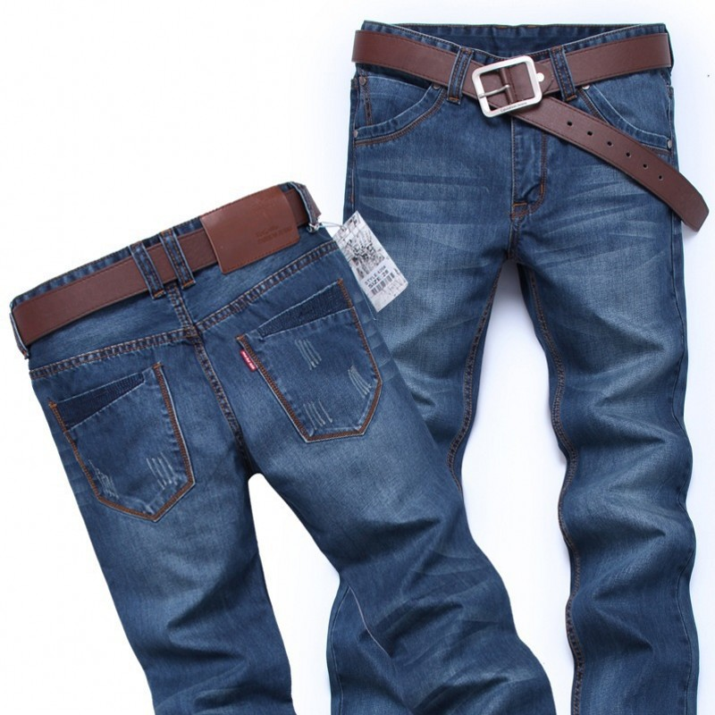 Men's skinny jeans and straight-leg designs feature modern cuts for an edgier look. These jeans are cut closer to the leg and sit lower on the hip than relaxed options. Men who prefer a sleeker appearance will appreciate the clean lines of slim-fit varieties.