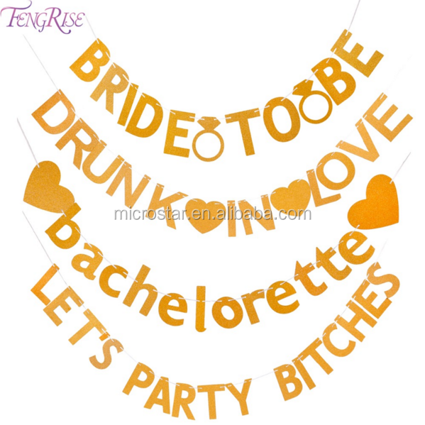 FENGRISE Bachelorette Party Bridal Shower Photo Booth Backdrop Wedding Decoration Supplies Gold Glitter Bride To Be Banner