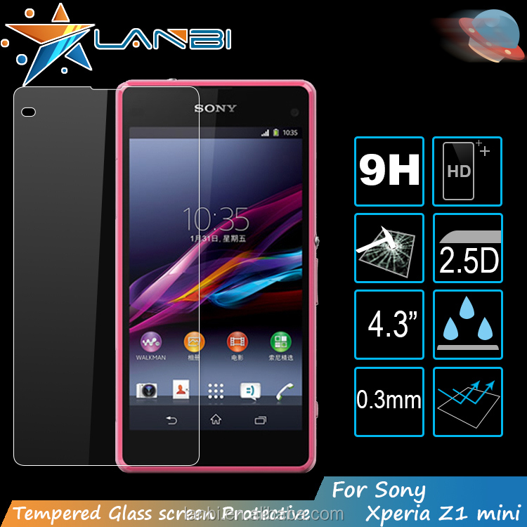 New coming High Quality Explosion Proof fingerprint resistant Tempered Glass For Sony Xperia Z1 Mini mobile screen protector