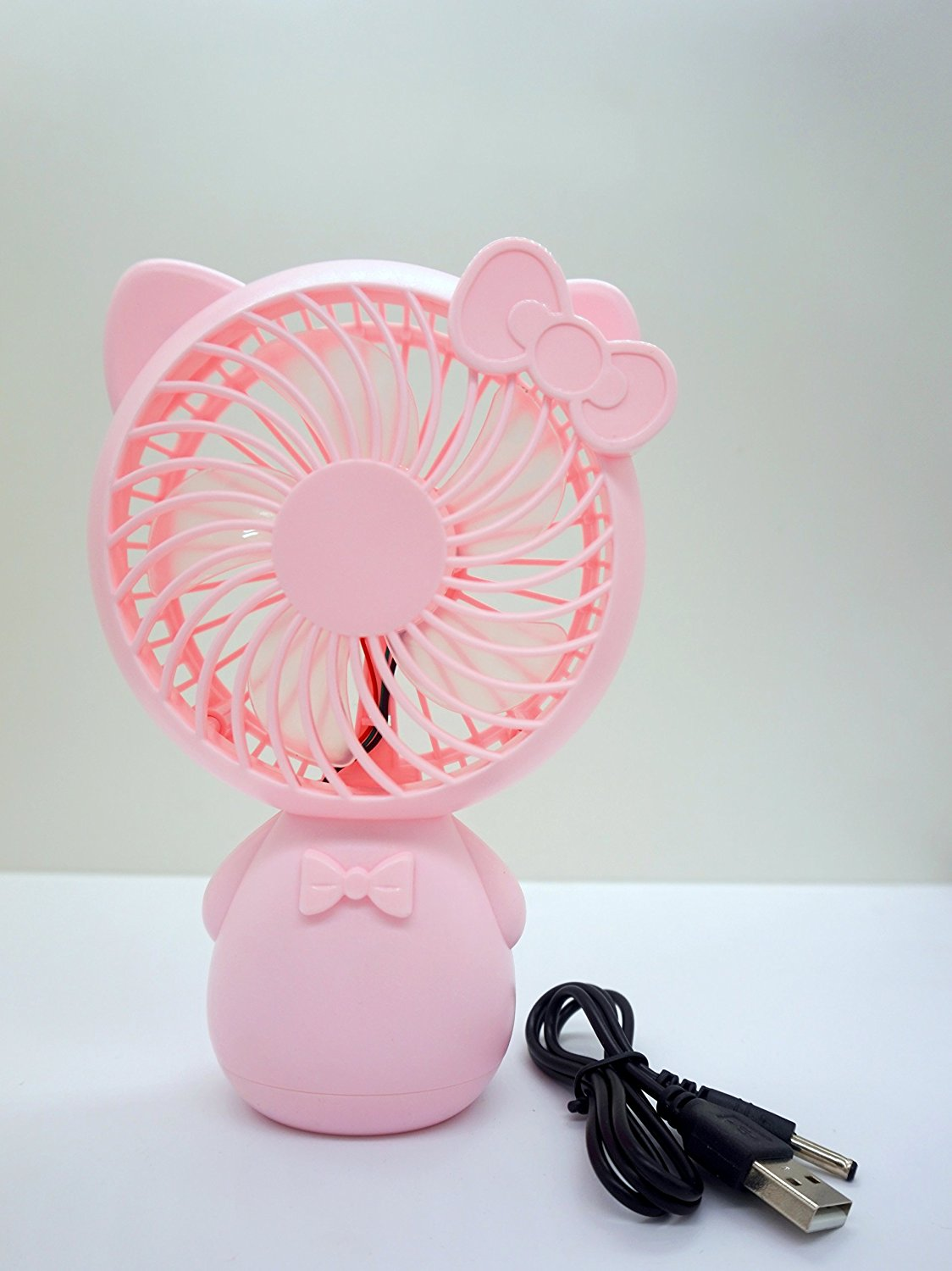 YOLOPLUS Portable Mini Cooling Fan Multipurpose Low Noise Blower Handheld Outdoor Fan with Rechargeable Battery USB Powered for Babies & School Kids Office Desktop PC Laptop and Travel (Kitty Pink)