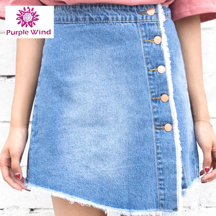 Ladies single breasted light blue denim skirt with raw edges