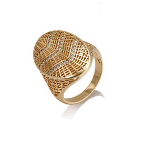 14437 High finishing oval shape diamond paved gridding big ring gold plated copper alloy ring