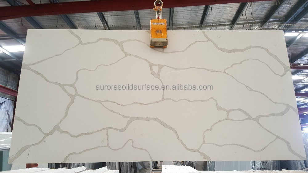 Marble Imitation Calacatta Nuvo White Quartz Stone Slab/Quartz Engineered Stone