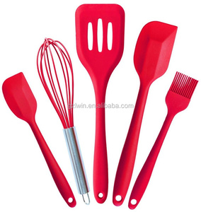 5 pcs / set resistant cooking silicon spatula kitchen ware cookware set