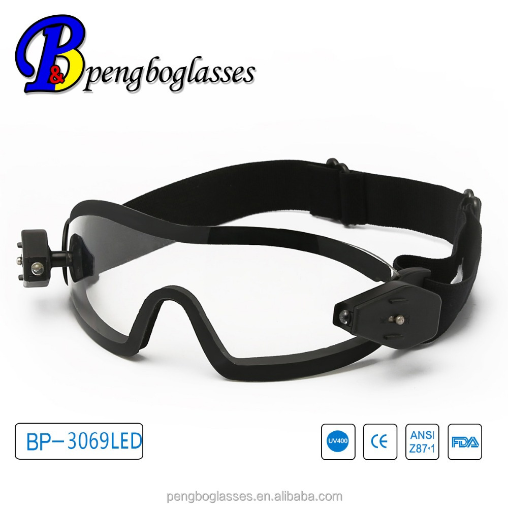 CE LED light Safety goggles with adjustable strap