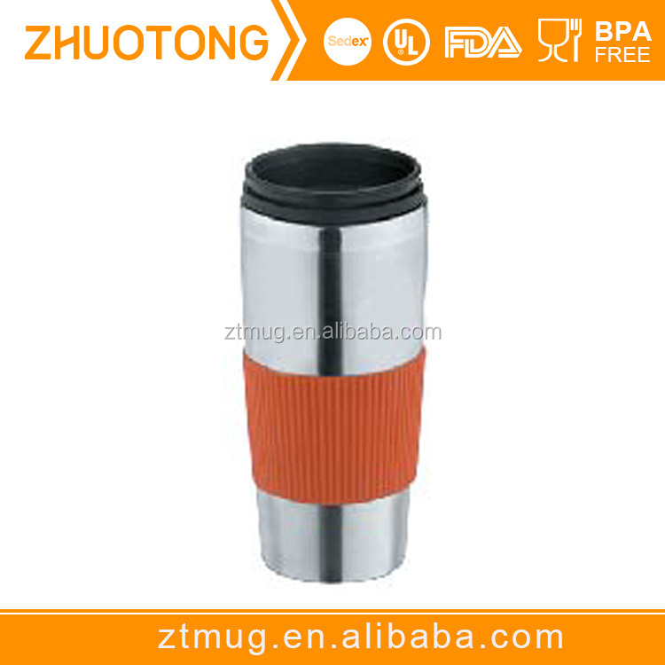Stainless Steel Surface Double Wall Ceramic Coffee Mug With Lid
