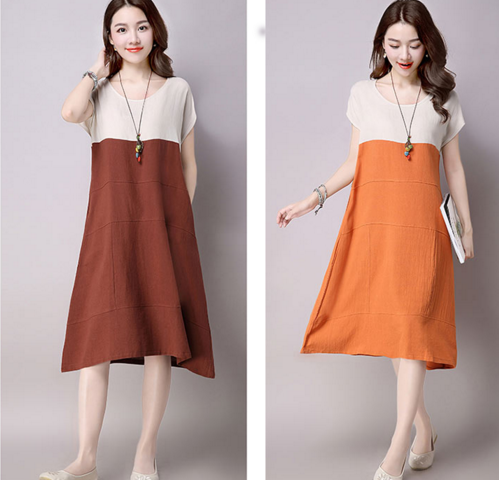 2018 new style large - size women's wear long - style quilted linen short - sleeve art loose dress