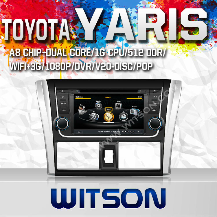 WITSON AUTO VIDEO FOR TOYOTA YARIS/VIOS 2014 WITH A8 CHIPSET DUAL CORE 1080P V-20 DISC WIFI 3G INTERNET DVR SUPPORT
