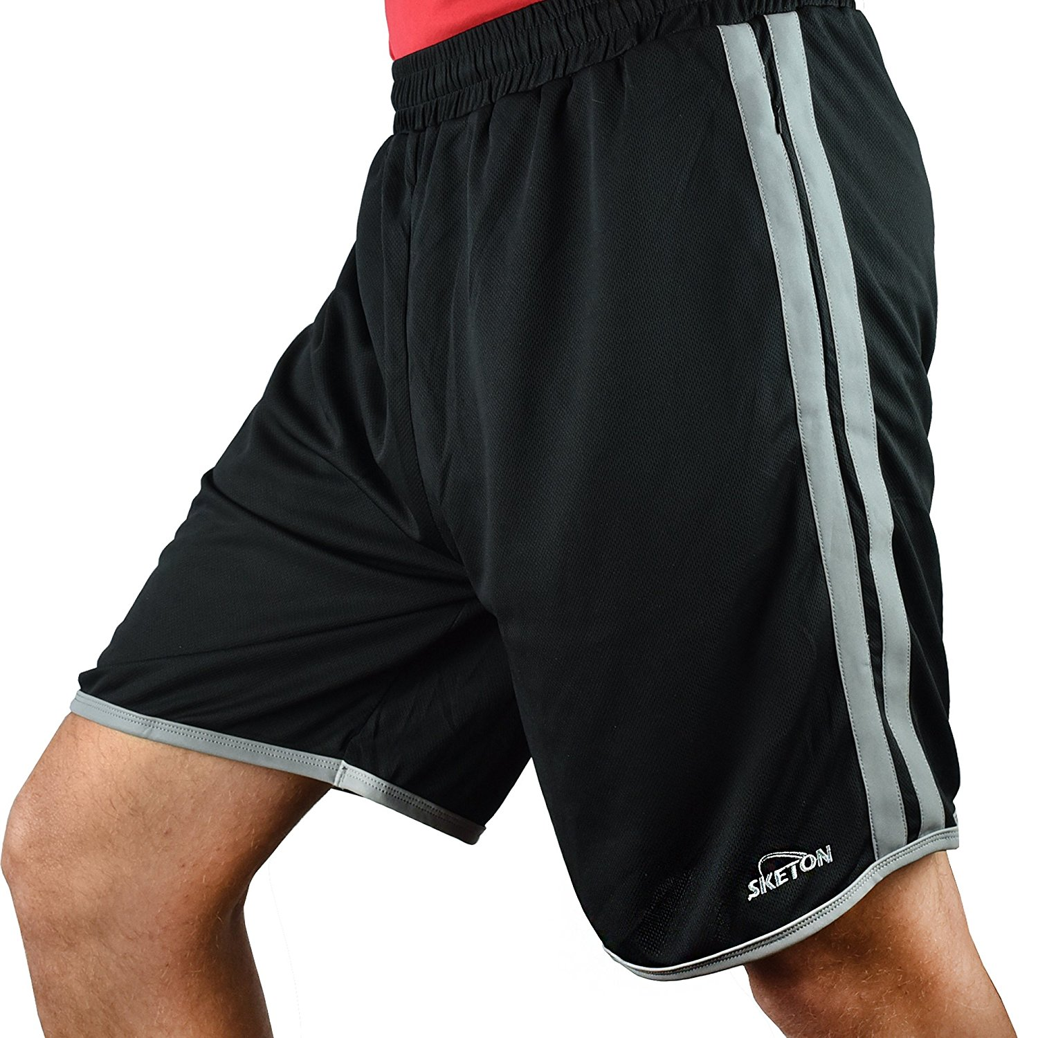 Sketon Men's Shorts Mesh Athletic Short by with Reflective Stripes with Pockets