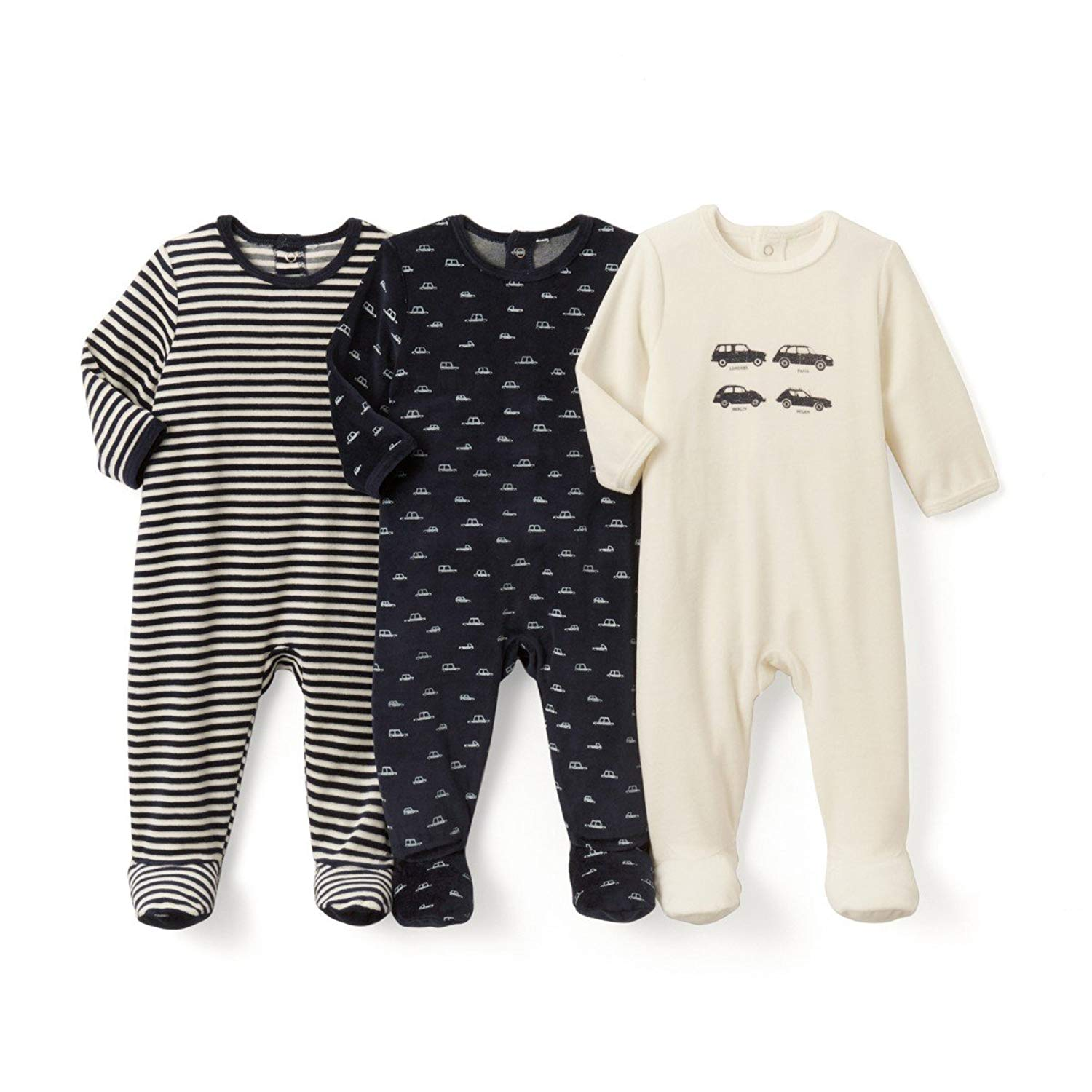 fafd104e5 Get Quotations · La Redoute Collections Big Boys Pack of 3 Printed  Sleepsuits, Birth-3 Years
