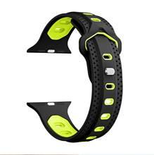 Силиконовый ремешок для наручных часов Apple Watch 38 мм/40 мм 42 мм/44 мм; спортивная обувь; женская Для мужчин ремешок для умных часов для наручных ч...(Китай)