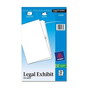 """Avery Consumer Products Products - Index Divider, 26-50, w/Table of Content, 14""""x8-1/2"""", 12/ST, WE - Sold as 1 ST - Use for index briefs, legal briefs, mortgage documentation files, and more. White paper stock dividers feature clear RipProof reinforced side tabs. Tabs are printed on both sides with"""