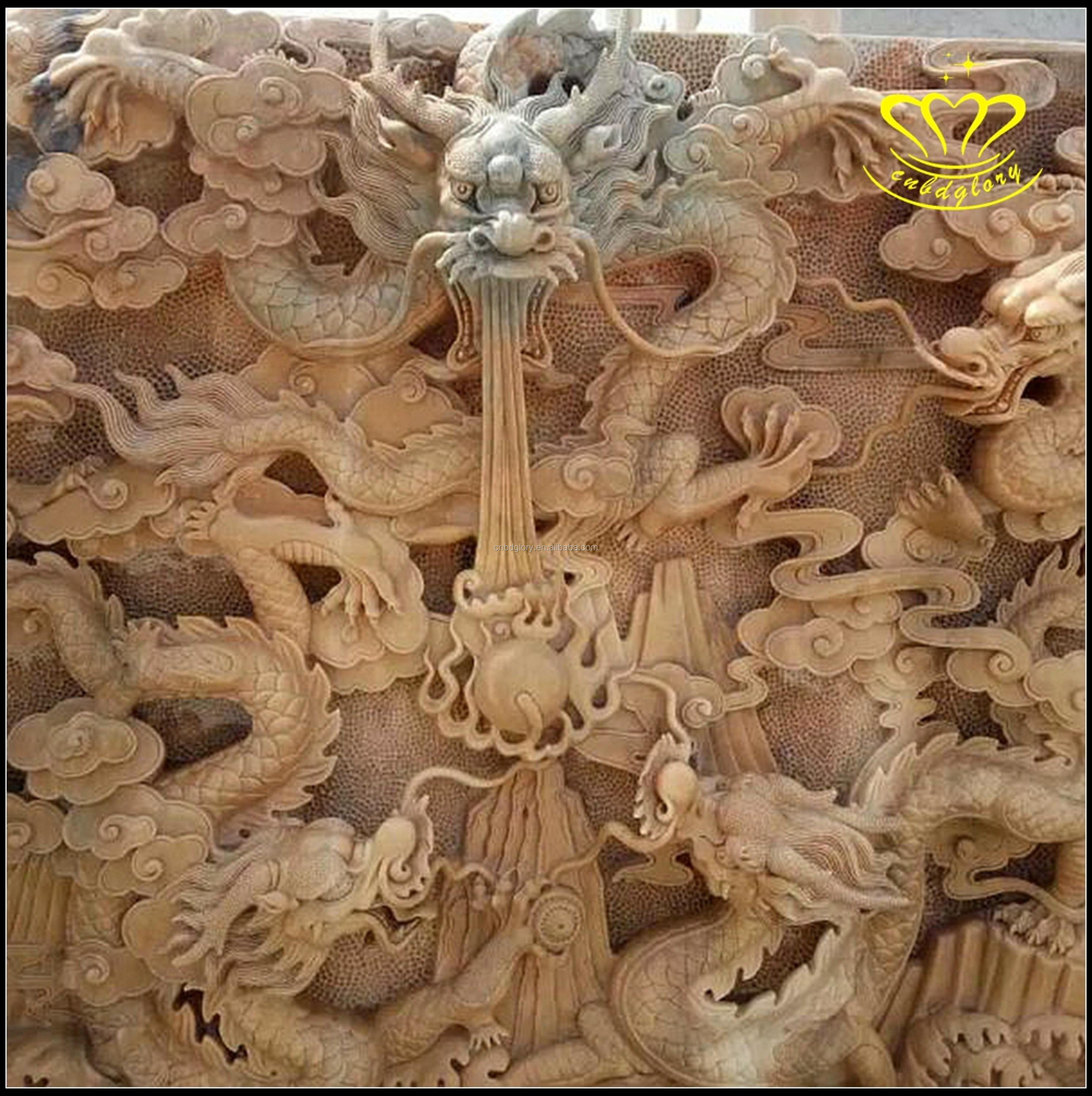 Professional hand carving marble stone animal dragon