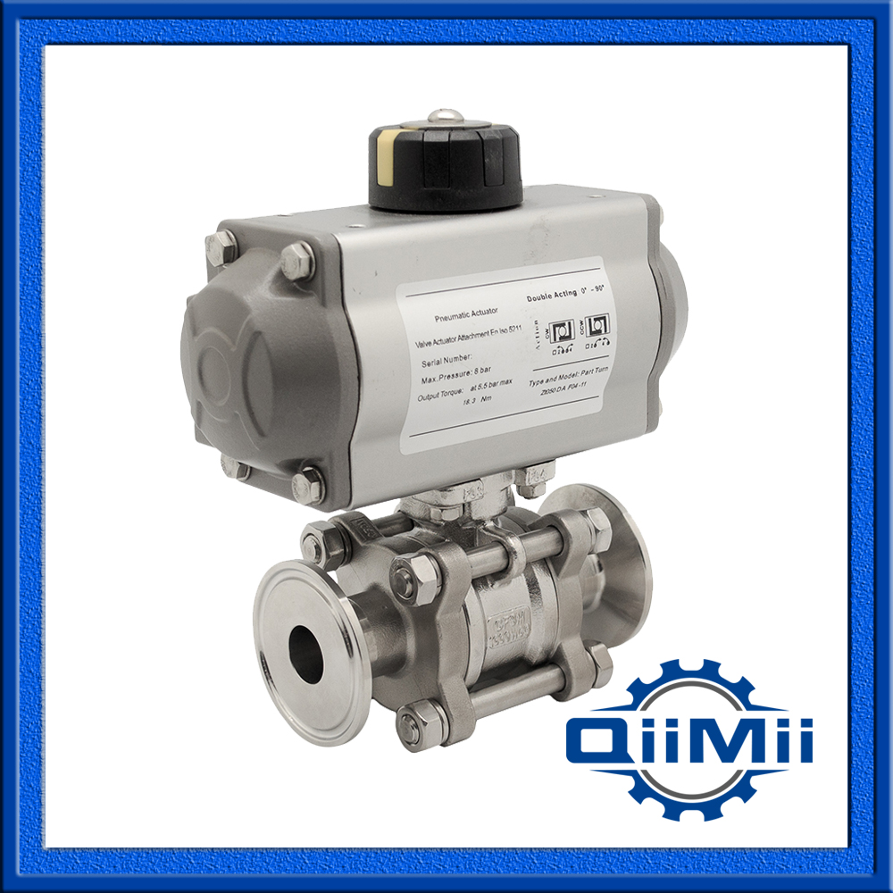 Sanitary Designed with Encapsulated Seal, Stainless Steel SS304/SS316L 3 pcs Pneumatic Ball Valve